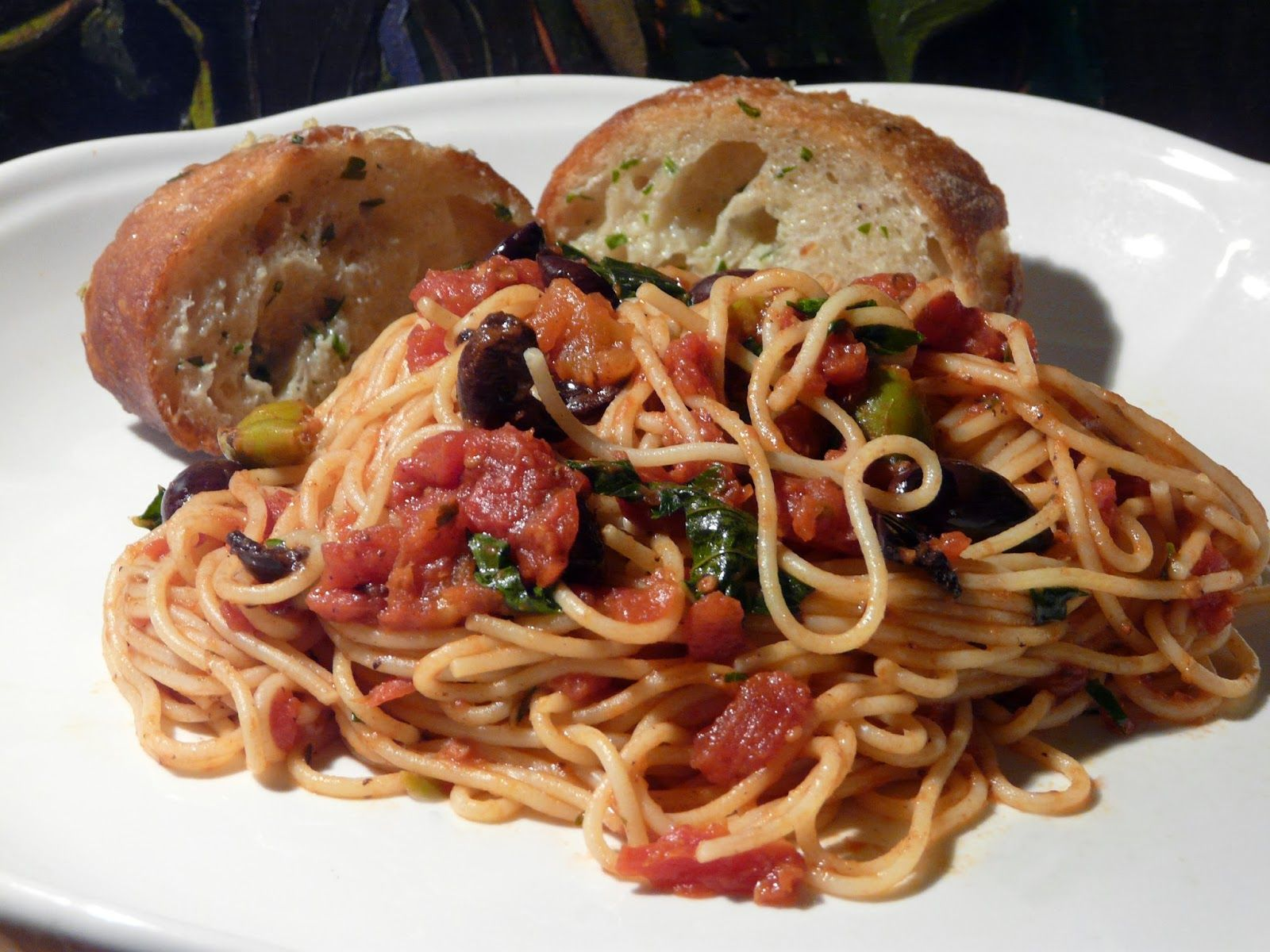 Image result for pasta puttanesca with low-fat garlic bread