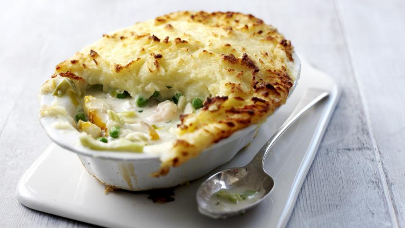 Image result for Creamy haddock and salmon pie with peas and sweetcorn